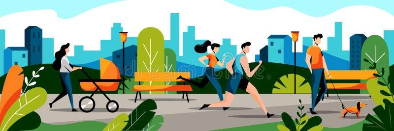人们在城市公园 传染媒介平的例证 跑步的加上和妈妈婴孩婴儿推车步行的在公园 库存例证