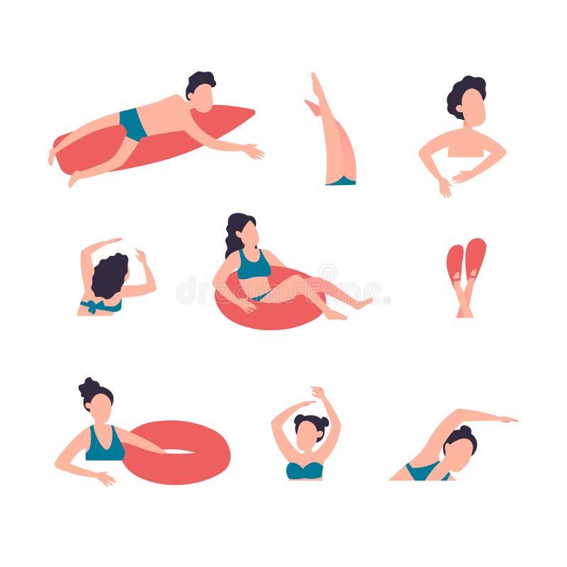人们在执行各种各样的活动的海或海洋 游泳的男人和的妇女,潜水,冲浪,说谎在浮动空气 皇族释放例证