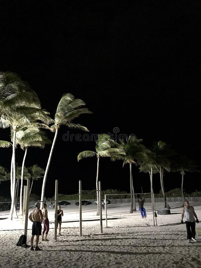 人们在晚上解决在迈阿密海滩-南海滩-佛罗里达-美国 免版税库存照片