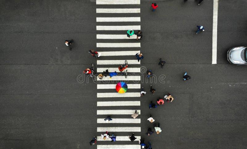 ?? 人们在步行行人穿越道拥挤 斑马线,顶视图 从人群的一个人拿着五颜六色的伞 免版税库存图片