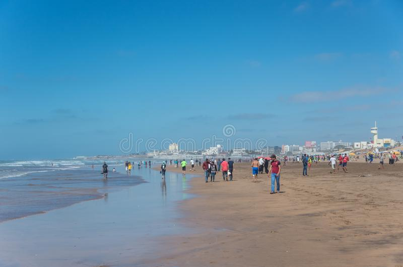 人们在海喜欢游泳,走和踢橄榄球 免版税库存图片