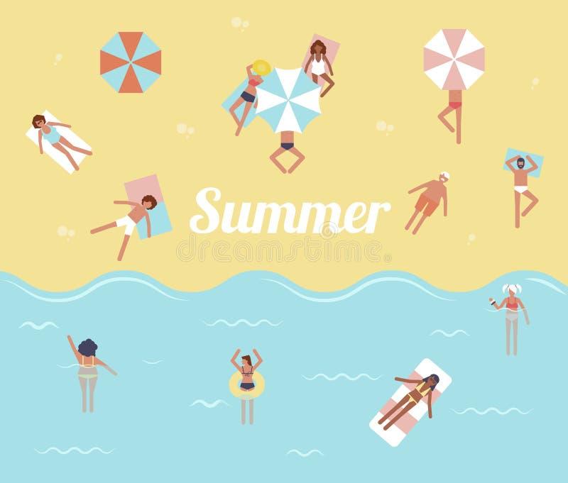 人们在海 你好夏天 池游泳伞水 热带海滩海报 库存例证