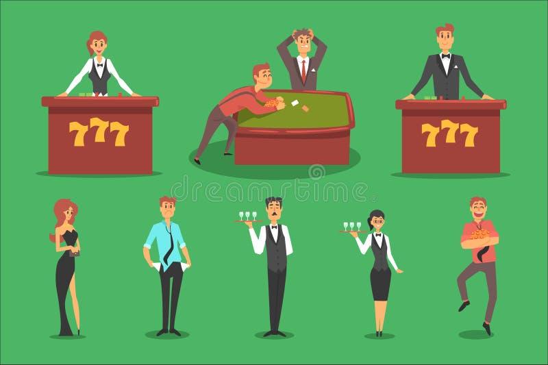 人们在赌博娱乐场 赌博和赌博娱乐场夜总会集合 皇族释放例证