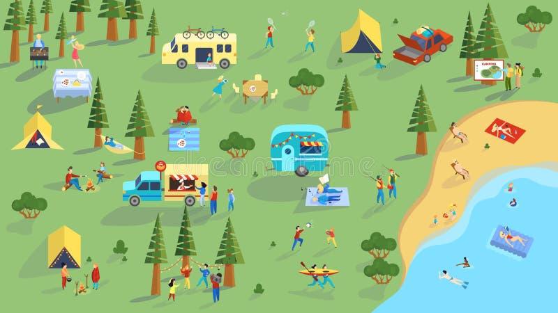 人们在野餐上花费室外的时间 夏天野营 向量例证