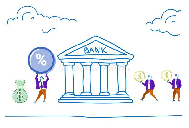 人们在银行中投资储蓄金钱得到百分之投资和储款概念成长财富水平的剪影乱画 向量例证