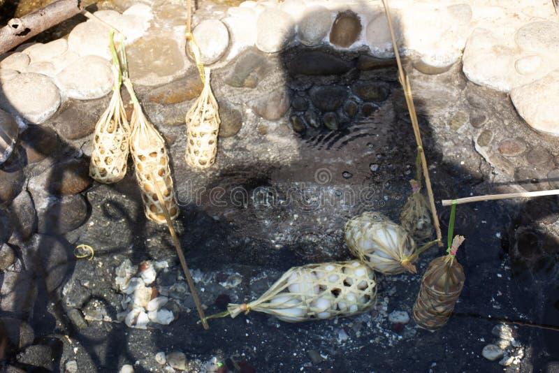 人们在Pa Tueng温泉的温泉的烹调熟蛋在Mae陈在清莱,泰国 图库摄影
