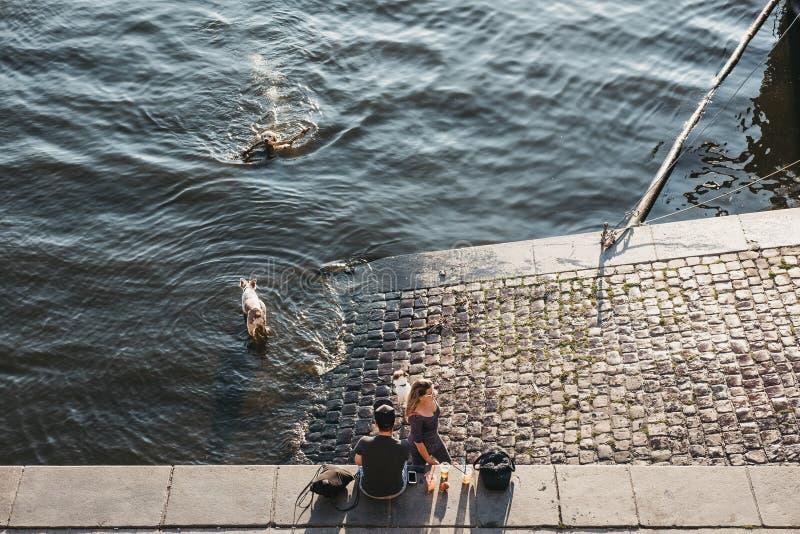 人们坐伏尔塔瓦河河的堤防在布拉格,捷克 库存图片