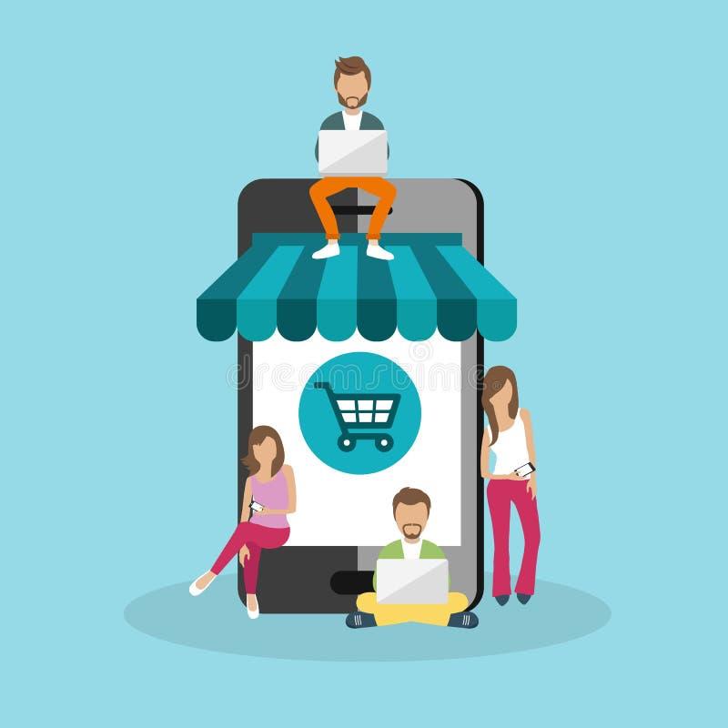 人们坐大巧妙的电话 使用膝部的青年人的冲浪的概念例证在线冠上购物 库存例证