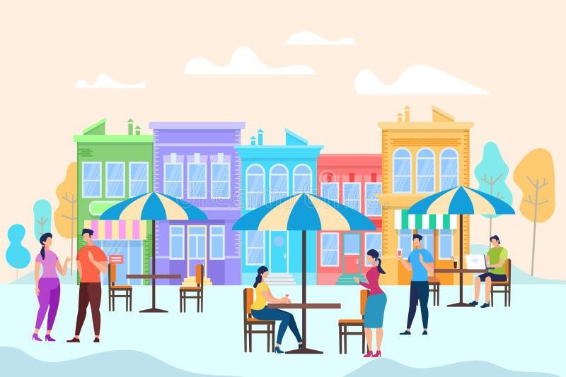 人们坐并且放松在表上在露天咖啡馆 向量例证