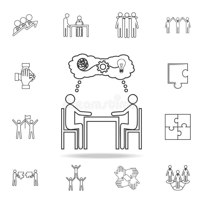 人们坐桌想法象 详细的套队工作概述象 优质质量图形设计象 一co 库存例证