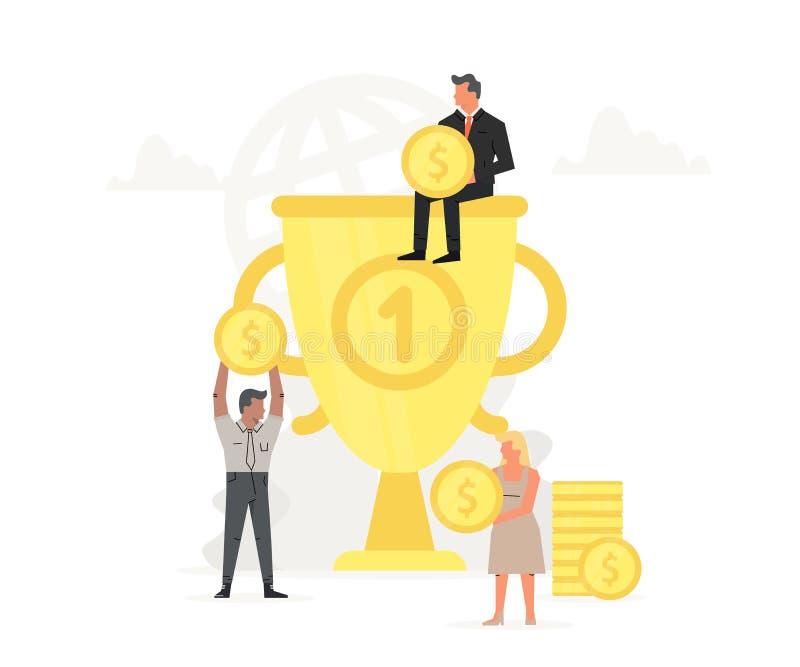人们存放并且收在大战利品的金钱 有小企业人的大金杯子在它附近 在线概念 皇族释放例证