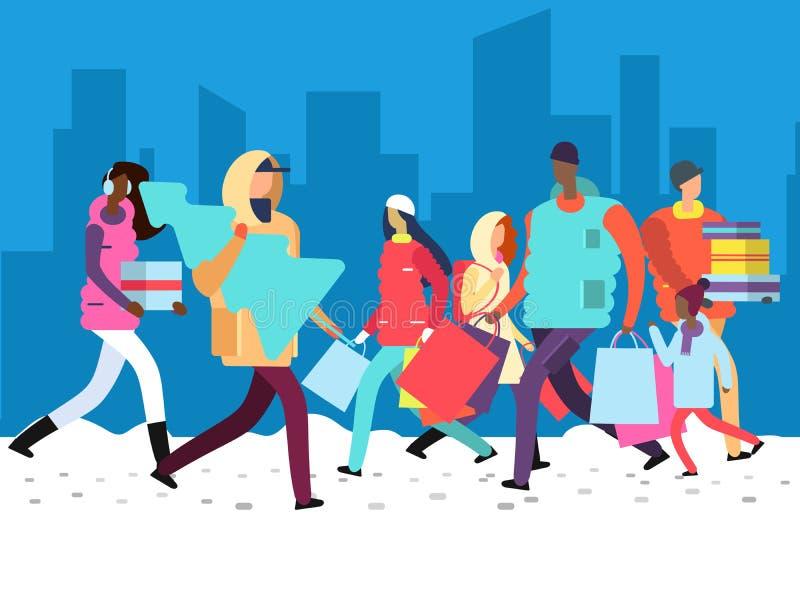 人们寒假 人运载的购物袋、礼物和圣诞树在大城市街道上 库存例证