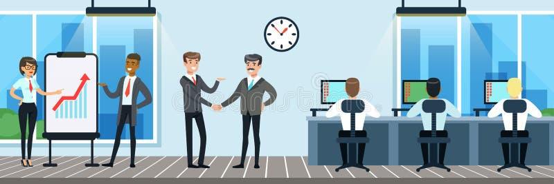 人们工作在办公室的,工作者在运转的书桌坐计算机,业务会议,介绍,传染媒介 库存例证
