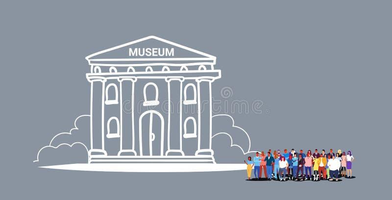 人们拥挤充分一起走普遍的旅游目的地的参观的博物馆大厦人妇女游人小组 皇族释放例证