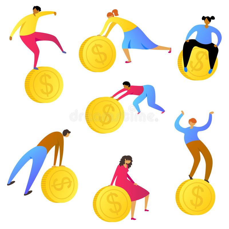 人们挣金钱 工作者收集硬币 财务题材的设计元素 皇族释放例证