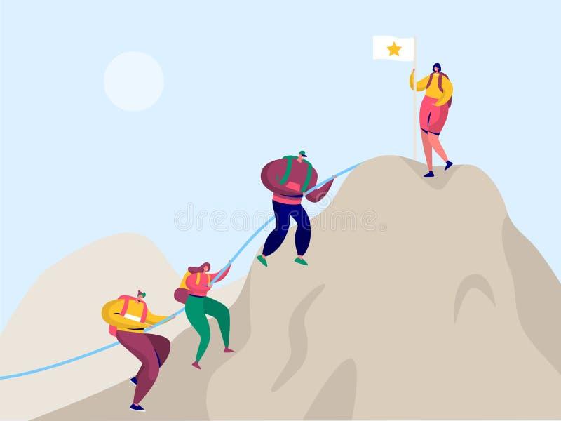 人们攀登岩石山对胜利旗子 体育冒险登山人字符的挑战目标与背包 皇族释放例证