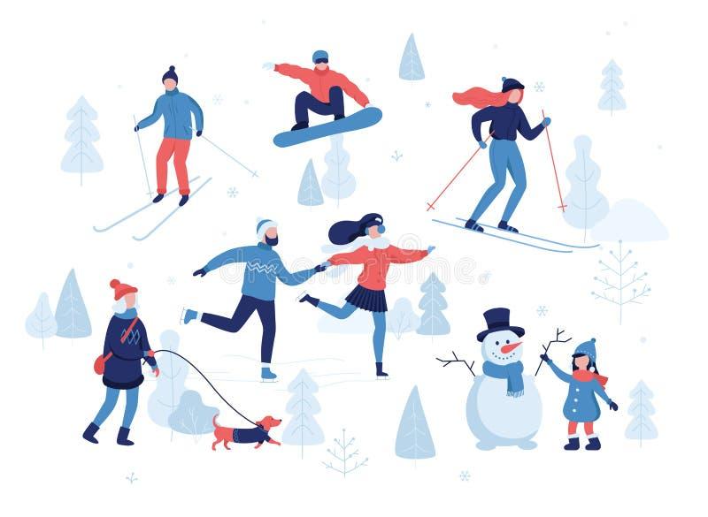人们有冬天活动在公园,滑雪,滑冰,雪板运动,遛狗,女孩的女孩做一个逗人喜爱的雪人 库存例证