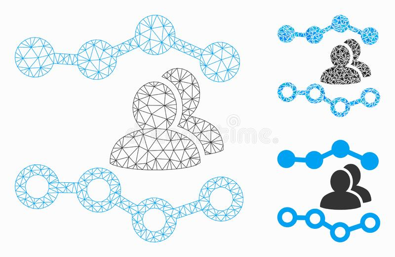 人们绘制传染媒介滤网接线框模型和三角马赛克象图表 向量例证