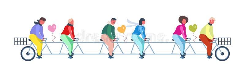 人们编组有心形气球愉快的情人节概念夫妇的骑马纵排自行车在成功的爱 向量例证