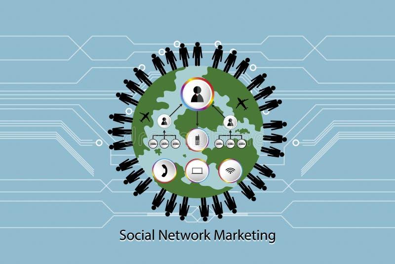 人们网络象运输在世界在蓝色背景的传染媒介例证联络与拷贝空间的概念营销增加te 库存例证