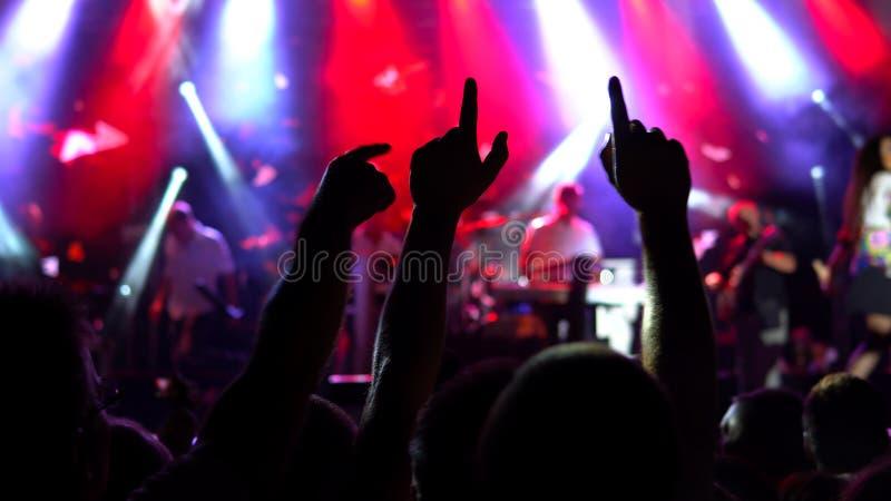 人们获得乐趣在音乐会 免版税图库摄影