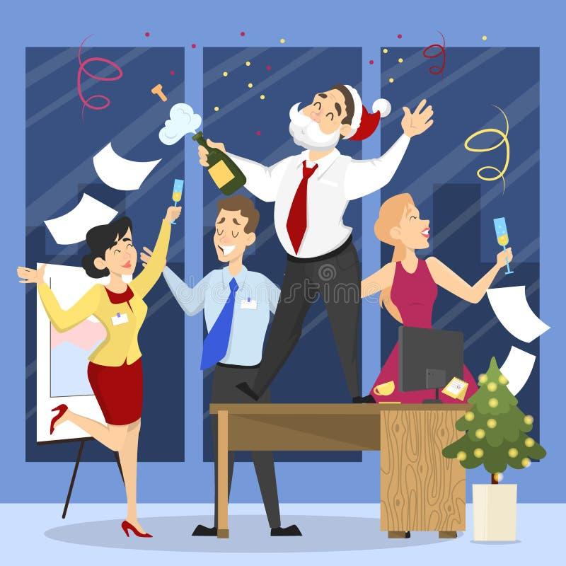 人们获得在办公室圣诞晚会的乐趣 库存例证