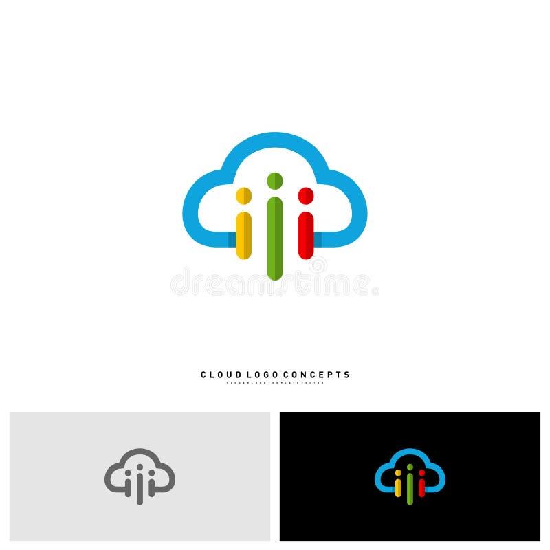人们覆盖商标设计观念传染媒介 现代云彩人商标模板传染媒介 向量例证