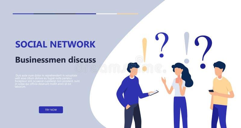 人们谈论,雇员解决任务,谈论社会网络新闻 网页的企业概念 库存例证