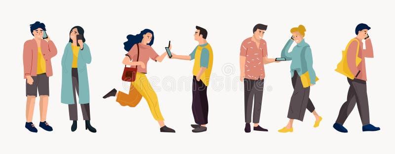 人们谈话在电话 时髦动画片办公室工作者和不同的人谈话在电话 导航的交谈 库存例证