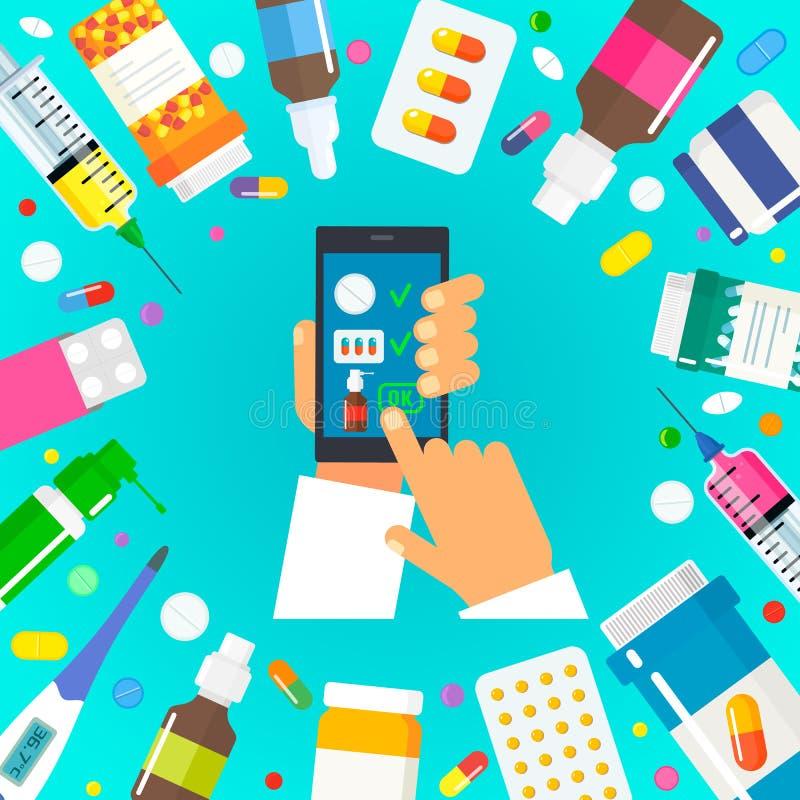 人们通过互联网买医学 与送货上门的网上药房概念 平面 向量例证