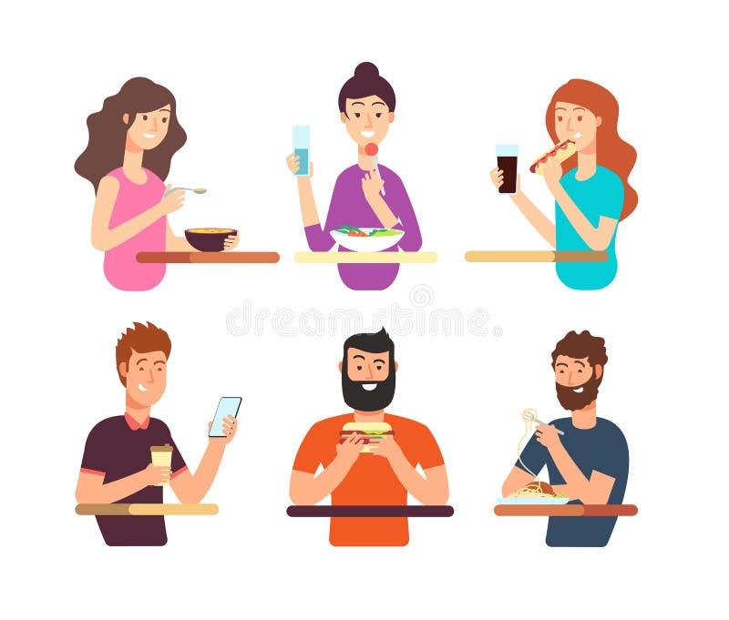 人们,吃不同的食物的饥饿的人 漫画人物吃在白色背景隔绝的传染媒介集合 库存例证