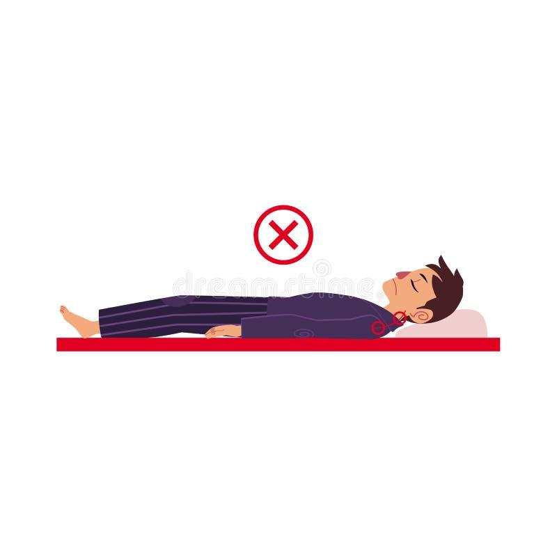 人传染媒介不正确后面睡觉姿势  库存例证