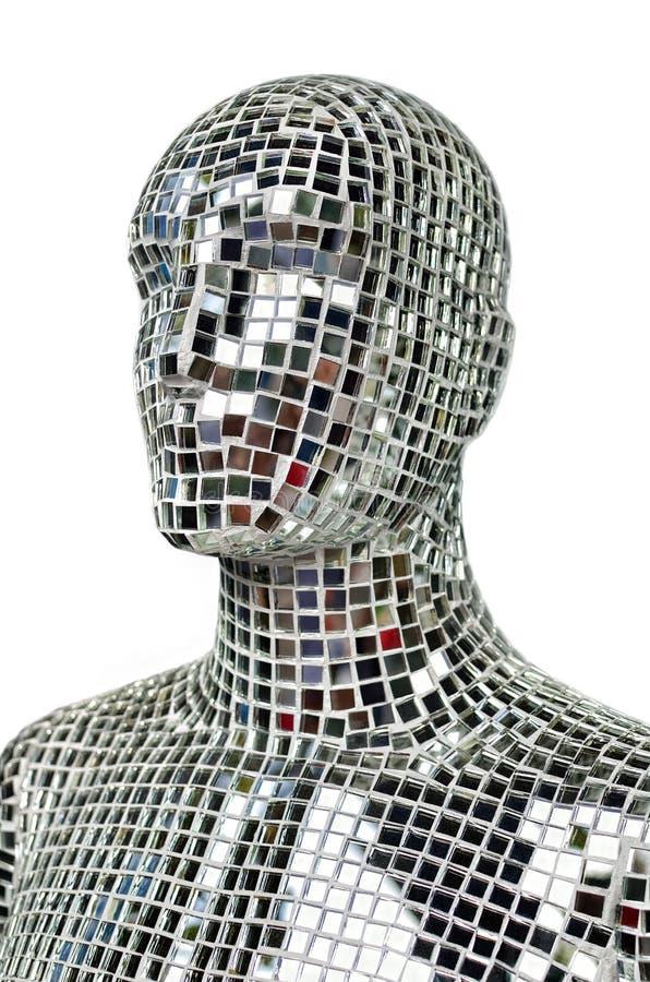人体剪影从闪耀的镜子的编结 库存图片