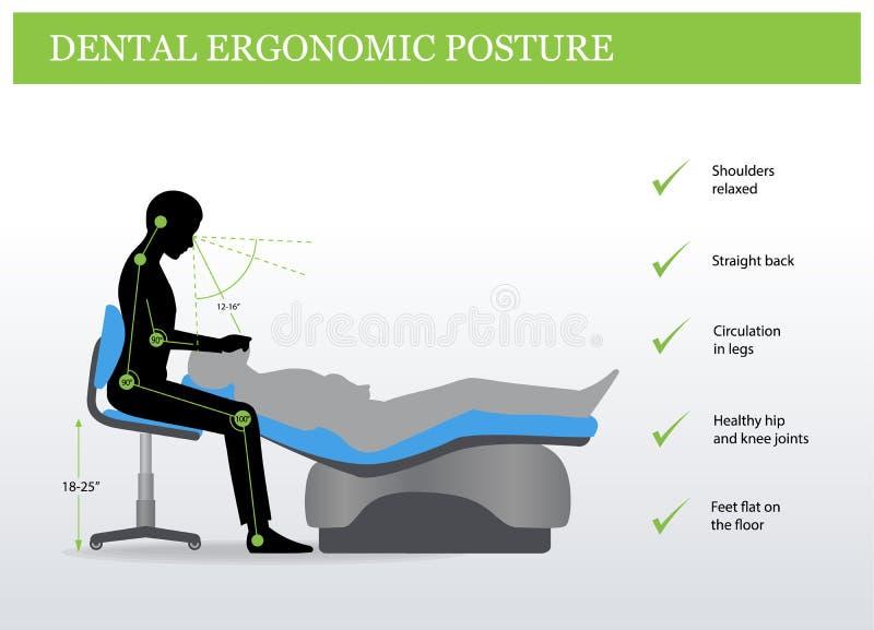 人体工程学在牙科方面 正确姿势 向量例证