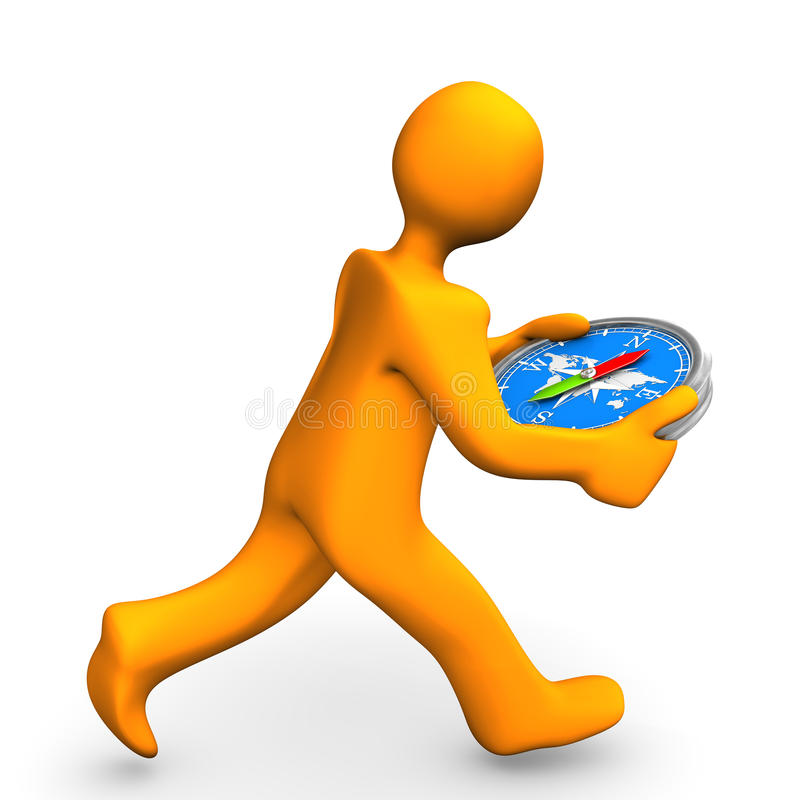 人体模型奔跑指南针 向量例证