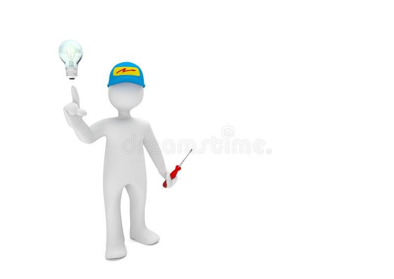 人体模型电工电灯泡 皇族释放例证