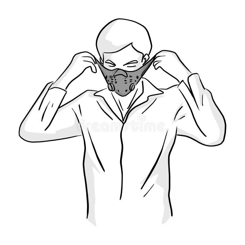 人佩带的面具传染媒介例证剪影乱画手拉与在白色背景隔绝的黑线 库存例证