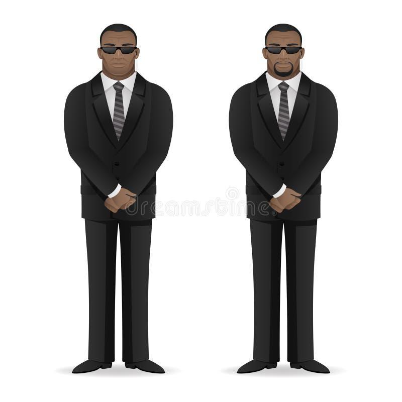 黑人保镖在闭合的姿势站立 皇族释放例证