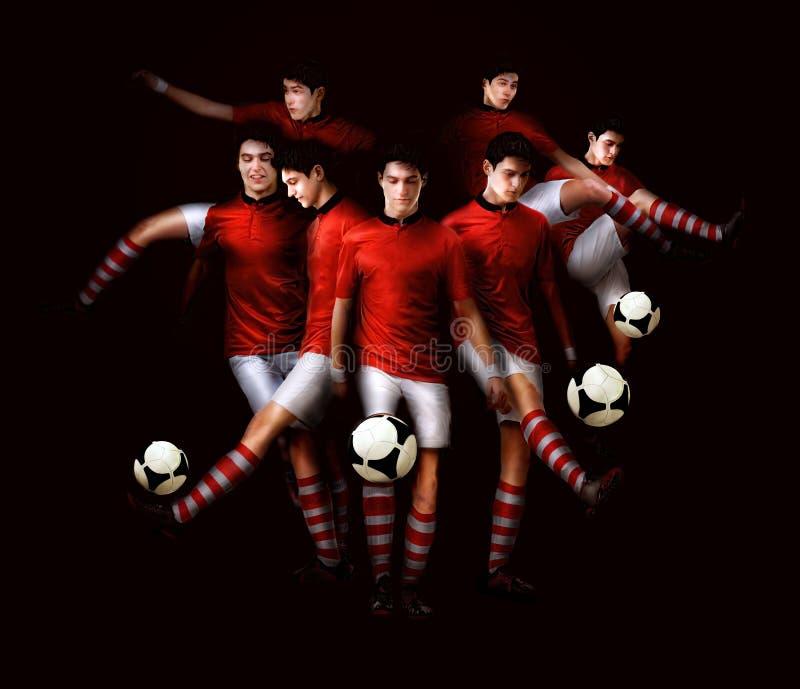 年轻人做与球的足球运动员健身锻炼在bl 免版税图库摄影