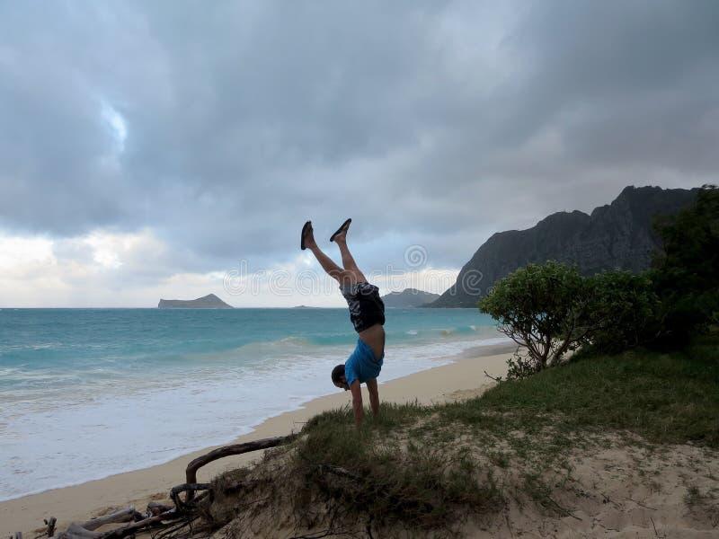 人做在象草的虚张声势的手倒立在Waimanalo海滩 免版税库存照片