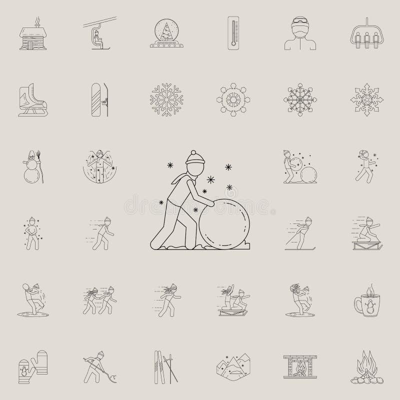 人做雪球象 详细的套冬天象 优质质量图形设计标志 其中一个网的汇集象 向量例证