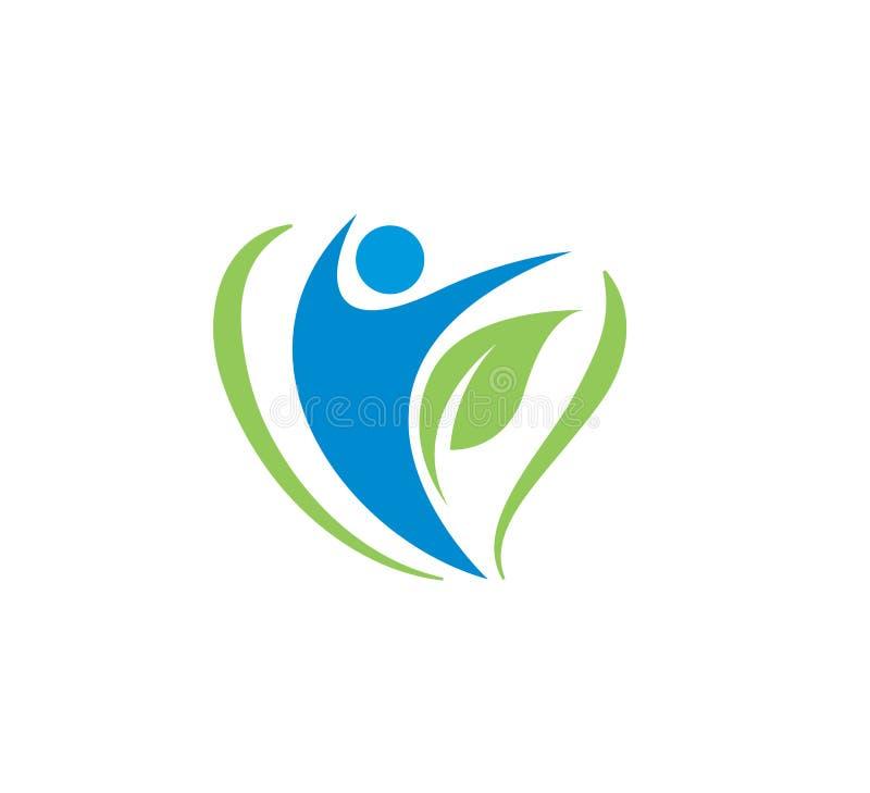 人健康健身温泉素食商标传染媒介例证 库存例证