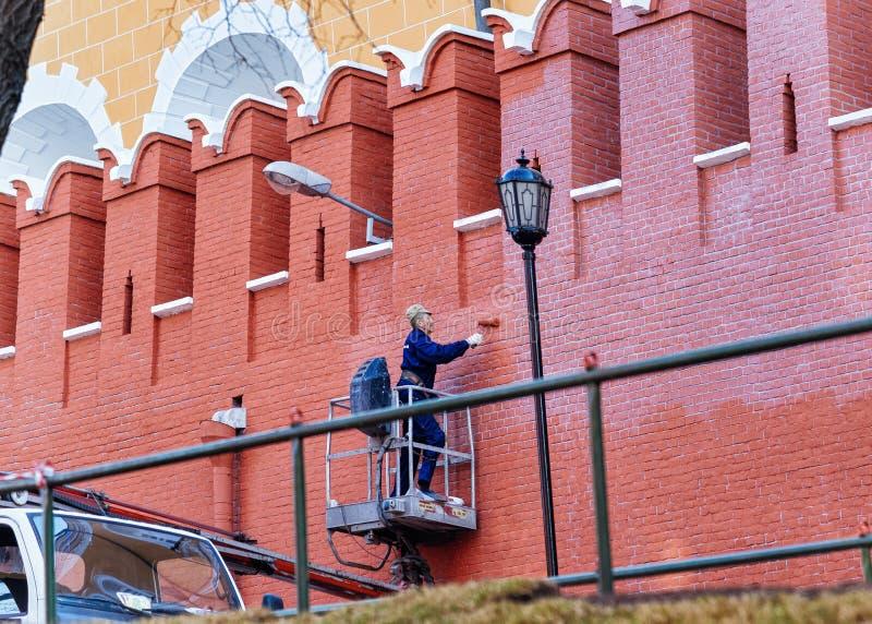 人克里姆林宫的绘画墙壁在莫斯科 库存照片