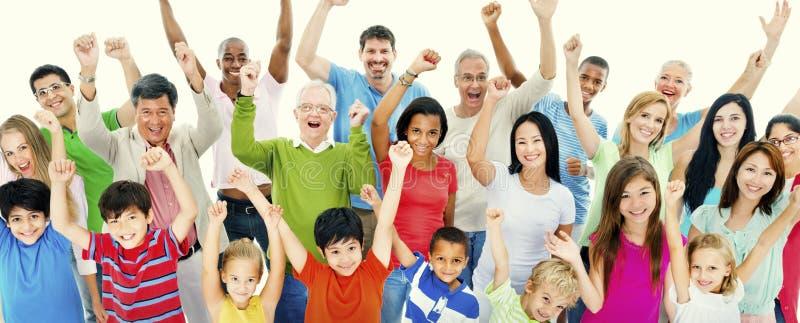 人公共庆祝幸福概念 免版税库存照片
