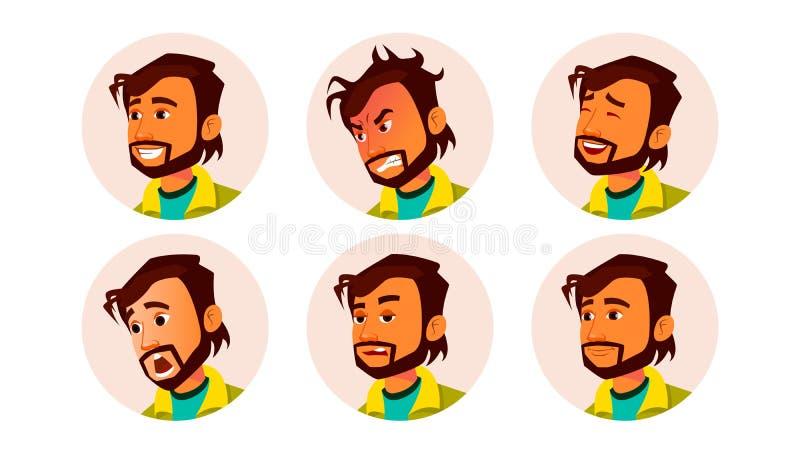 人具体化人传染媒介 面部情感 缺省占位符 印地安人色的成员 恼怒,微笑 面孔剪影 库存例证