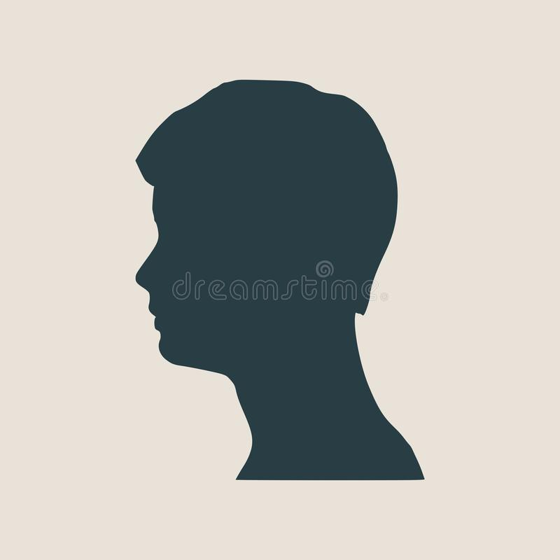 人具体化外形视图 男性面孔剪影 向量例证