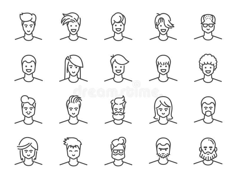 人具体化线象集合 作为男性、男孩,外形,个人的包括的象和更多 皇族释放例证