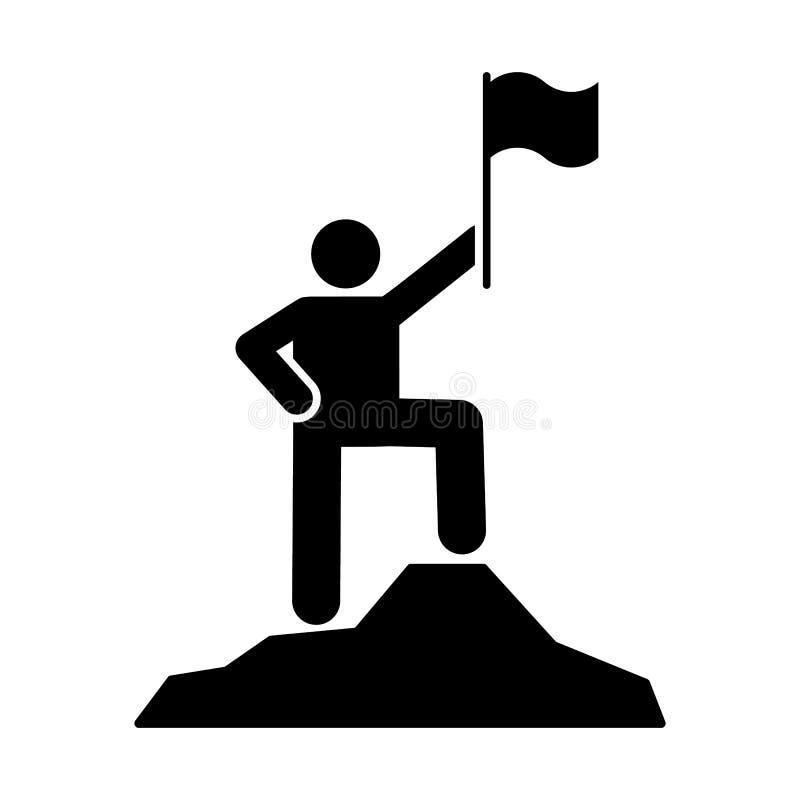 人冒险旗子山象 图表冒险例证的元素 向量例证