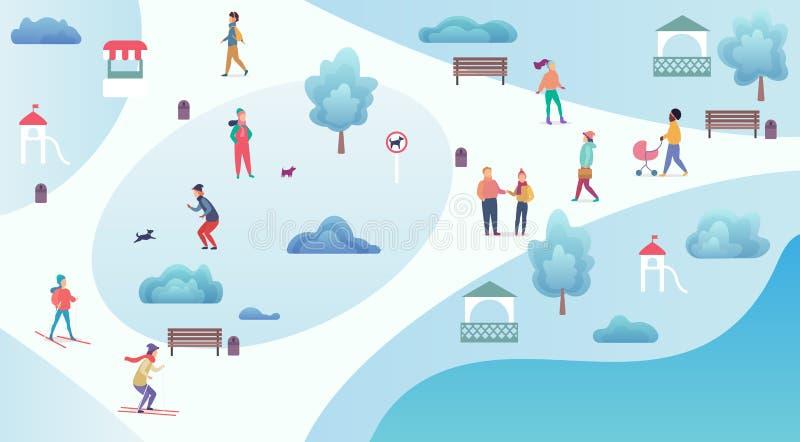 人冬天活动 休息,滑雪,走和使用在冬天公园动画片顶视图地图传染媒介 库存例证