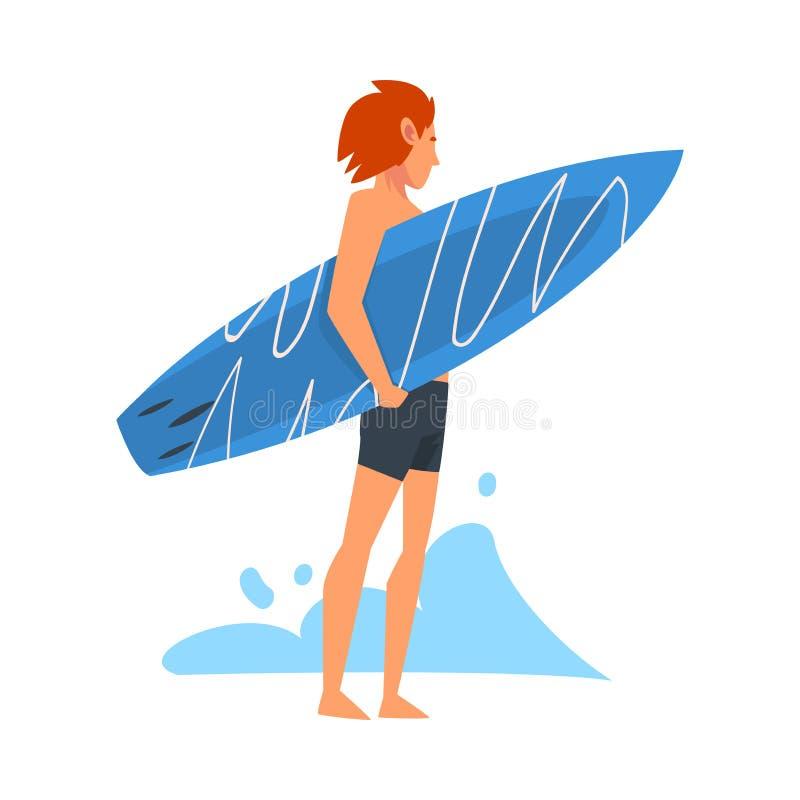 人冲浪者字符站立与冲浪板的,消遣海滩水上运动,享受暑假传染媒介的人 库存例证
